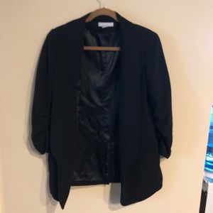H&M black blazer ruched sleeves size 10